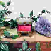 Vintage Ring Box, Trinket Box, Pink Glass Box, Jewelry Box, Keepsake Box, Gold Toned Box, Velvet Box, Vintage Home Decor, Heart Design, by shopGoodsVintage
