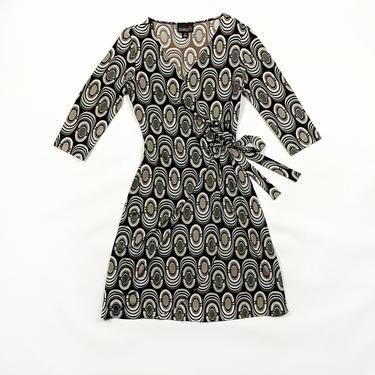 90s Three Quarter Length Op Art Print Wrap Dress / 90s does 70s / Brown and Baby Blue / Allover Print / Scarlett / Size 8 / Tie Waist / 00s by shoptrashdotnet