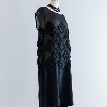 Vintage 1920s Dress - Vintage 20s Black Silk Evening Dress With Pleated Applique Flapper Style by xtabayvintage