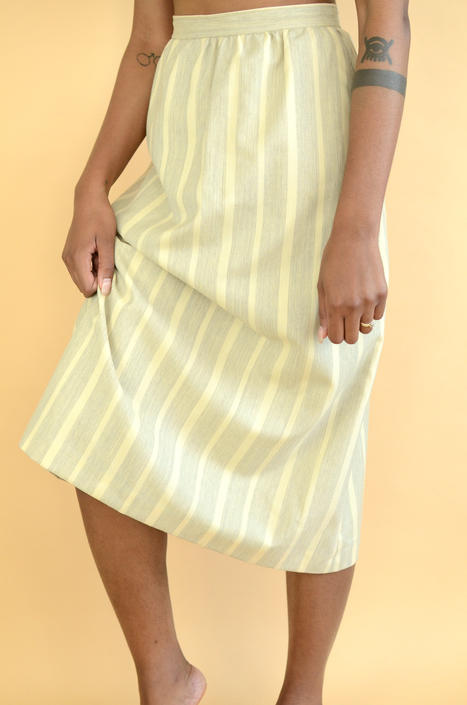 Vintage Union Made Wool Ivory & Grey Striped A-Line Skirt by MAWSUPPLY