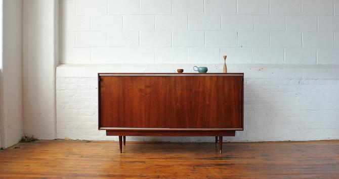 Restored Walnut Credenza with Leather-tabbed Sliding Doors by NijiFurnishing