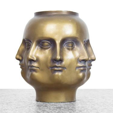 Original 2005 TMS Perpetual Faces Vase - Gold by JefferyStuart