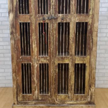 Antique Rustic Tall Pierced Storage Cabinet
