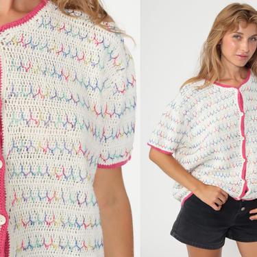 Rainbow Knit Top White Cardigan Boho Blouse 90s Short Sleeve Sweater Festival Vintage 1990s Hippie Bohemian Oversized Medium by ShopExile