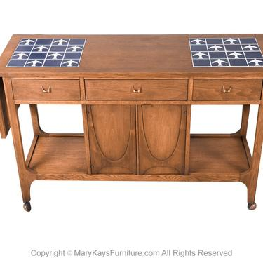 Mid Century Broyhill Brasilia Drop Leaf Tile Top Bar Cart Console Table by Marykaysfurniture