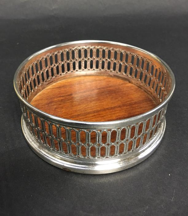 Vintage Silverplate Wine Coaster with Wood Base