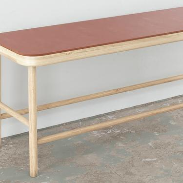 Maggie Bench- White Oak with Leather seat by OlivrStudio