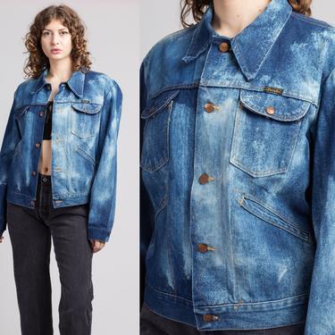 70s Wrangler No Fault Acid Wash Denim Jacket - Men's Medium, 44   Vintage 80s Grunge Jean Trucker Tie-Dye Jacket by FlyingAppleVintage