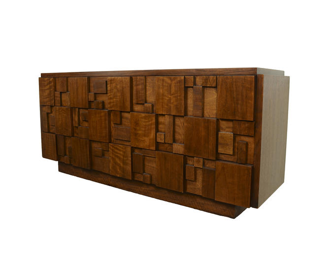 Lane Long Walnut Dresser Brutalist Paul Evans Inspired Mid Century Modern by HearthsideHome