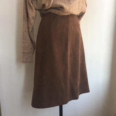 Vintage 70's CHIC MINIMALIST Ultra Suede SECRETARY Skirt / Pockets + Lined / S by CharmVintageBoutique