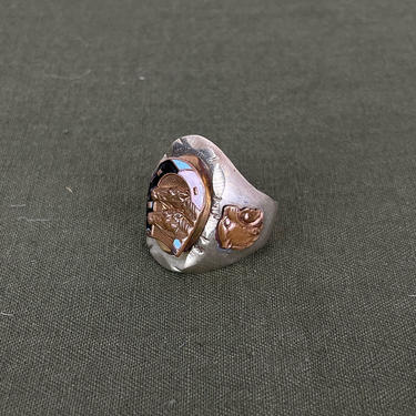 Size 11 1/2 Vintage 1950s Mexican Souvenir Biker Ring with Lucky Horse and Enamel Horseshoe Head and Aztec Warrior with Jaguar Headdress by BriarVintage