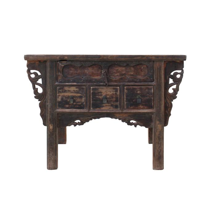 Chinese Vintage 4 Drawers Raw Rustic Brown Side Table Cabinet cs5348S