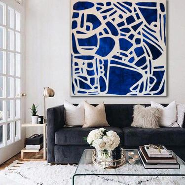 """CUSTOM Order-Mari del Valle-BabyBlue,Purple,White 60""""x60"""" UNStretched Canvas Painting Abstract Original Contemporary Artby ArtbyDinaD by ArtbyDinaD"""