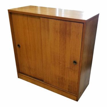 Vintage Danish Modern Small Teak Storage Cabinet With Sliding Doors