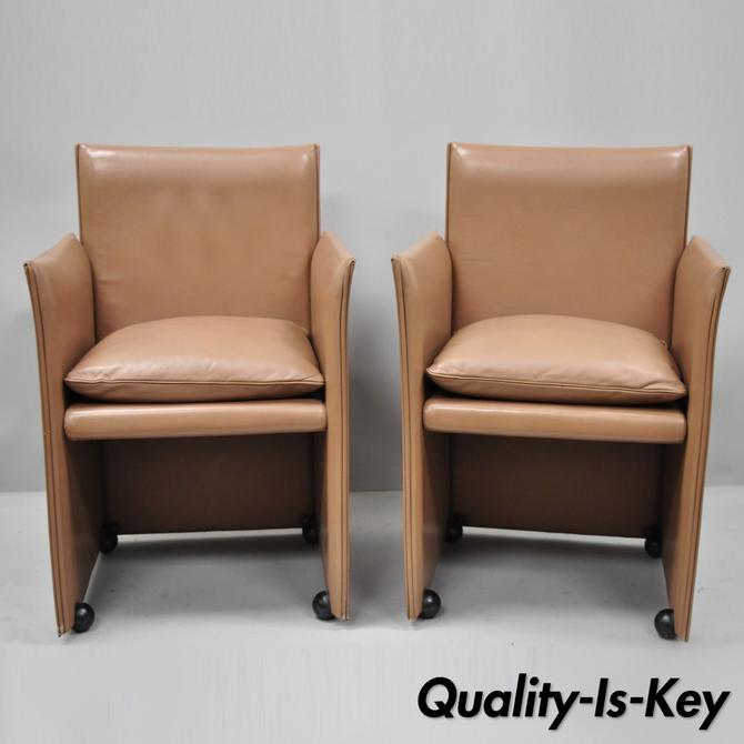 Pair of 401 Break Armchair Mario Bellini for Cassina Copper Leather Dining Chair