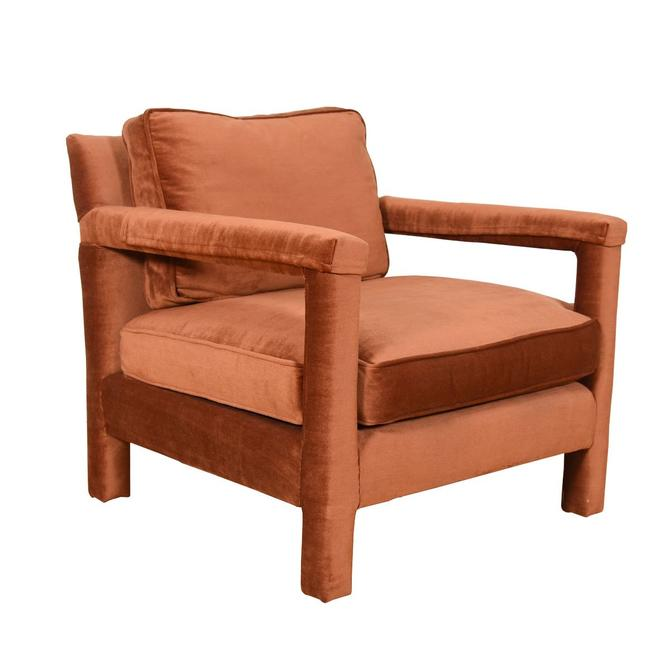 Copper Suede Upholstered Milo Baughman Club Chair