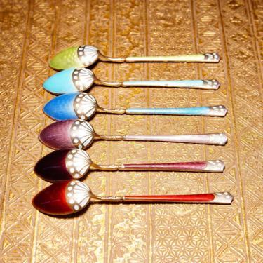 Antique Art Deco Sterling Silver Guilloche Enamel Demitasse Spoon Set (6), Colorful Decorative Tea Spoons, Scandinavian, Marked 930S by shopGoodsVintage