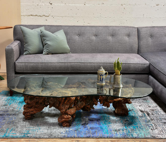 Wood and Resin Vintage with Glass Top  Coffee table