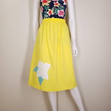 Vintage 80s Bright Yellow Skirt, Medium Large / Floral Cotton Day Skirt / Elastic Waist A Line Summer Skirt / Flower Applique Midi Skirt by SoughtClothier