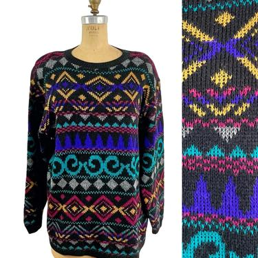 1980s bold pattern tunic sweater by Alfred Dunner - size large by NextStageVintage