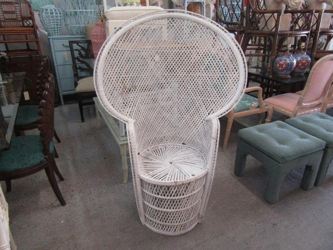 Petite Painted Rattan Fan Chair