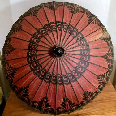 Vintage Parasol, Sun Shade or Fabric Umbrella - Handmade Hand Painted, Red Black, Tribal, Asian, Chinoiserie, Boho Bohemian, Home Decor by VenerablePastiche