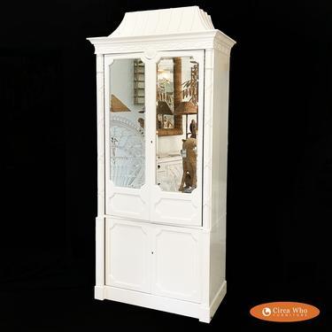Hollywood Regency Pagoda Mirrored Cabinet
