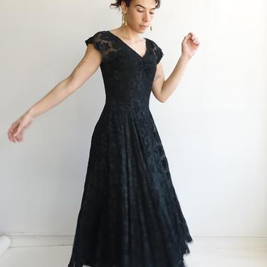 Vintage 40s Burnout Silk Leaf Print Gown/ 1940s Black Silk Dress/ Maple Leaf Print/ Size Small Medium by bottleofbread