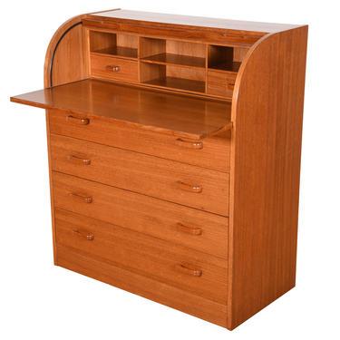 Danish Modern Rolltop Secretary Desk \/ Vanity \/ Dresser in Teak