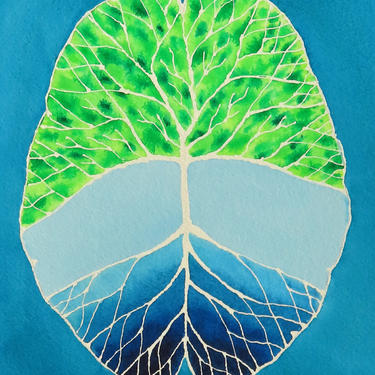 Root and Branch Brain -  original watercolor painting by artologica