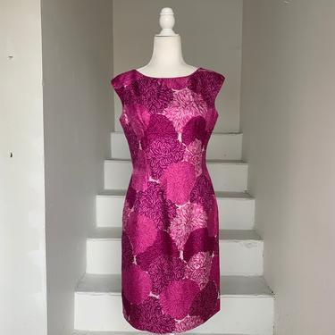 60's Vibrant Pink and Purple MCM Chrysanthemum Silk Print Sheath Dress Vintage Sleeveless 36 Bust by AmalgamatedShop
