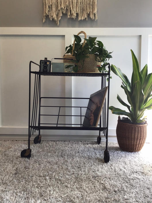 Rolling Record Player Cart, Black Wire and Filigree Mesh 50s Mid Century Shelves, Black Wire Rack for Vinyl Record Player and Vinyl Storage by VintageCoreReStore