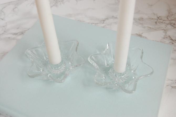 Vintage Glass Star Candlesticks - Short Glass Star Candle Holders - Glass Candleholders by PursuingVintage1