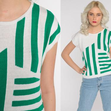 Striped Knit Shirt 80s Knit Top Green White Cap Short Sleeve Sweater Top Slouchy Blouse Retro Tee Vintage Slouch 1980s Small by ShopExile