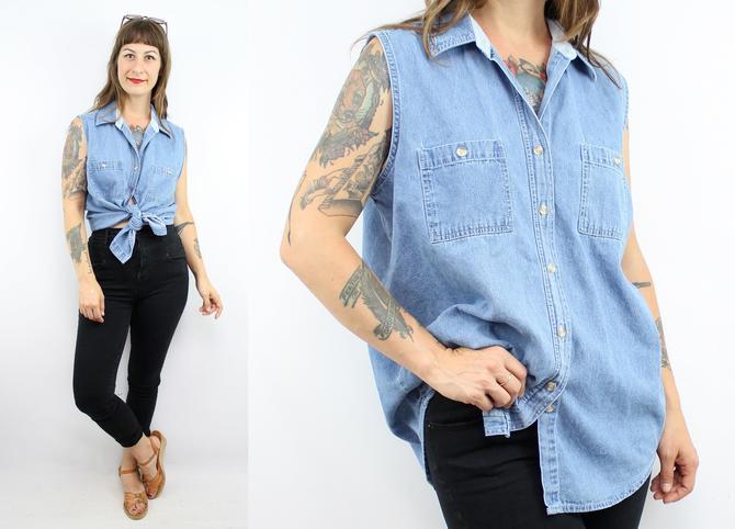 228b4ef51 Vintage 90's Super SOFT Blue Denim Shirt Blouse / 1990's ...