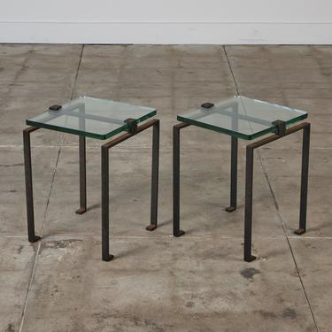 Pair of Glass and Oxidized Steel Side Tables