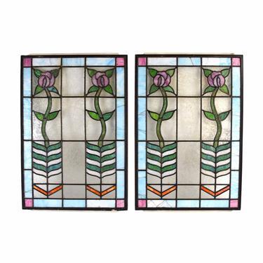Pair Antique Art Nouveau Art Deco Stained Glass Windows Vertical Flowers by PrairielandArt