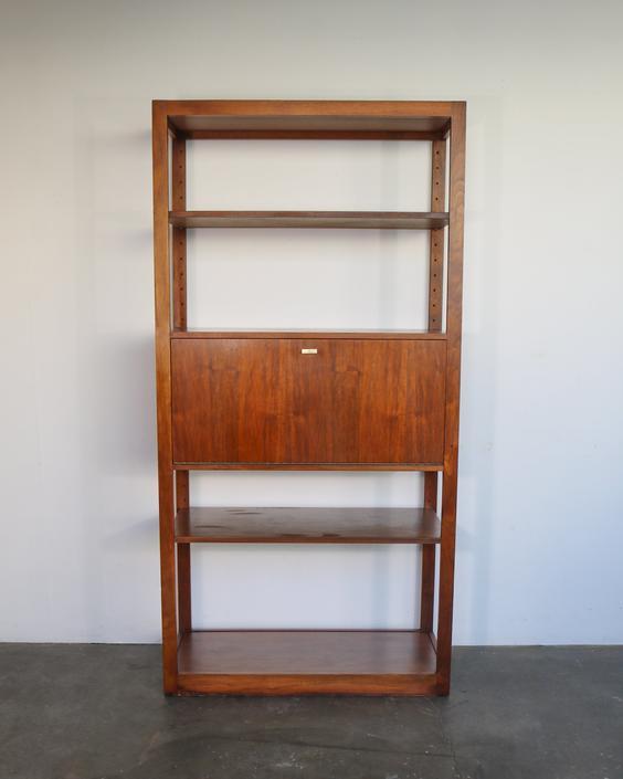Tall Mid Century Modern Walnut Shelf with Fold Out Cabinet by IridiumInteriors