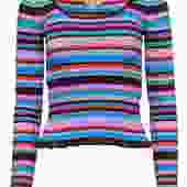 Cinq a Sept - Multicolored Striped Ribbed Sweater w/ Ruffled Hem Sz XS