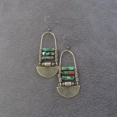 Imperial jasper earrings, green tribal chandelier earrings, unique ethnic earrings, modern Afrocentric earrings, boho chic earrings by Afrocasian