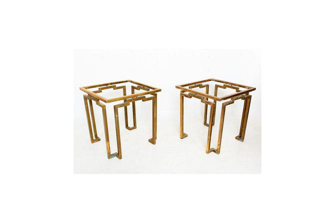 Brass and Glass Sculptural Geometric Side Tables by Arturo Pani Mexico 1950s by AMBIANIC
