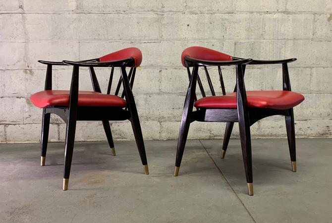 PAIR of LACQUERED Mid Century Modern ARMCHAIRS by CIRCA60