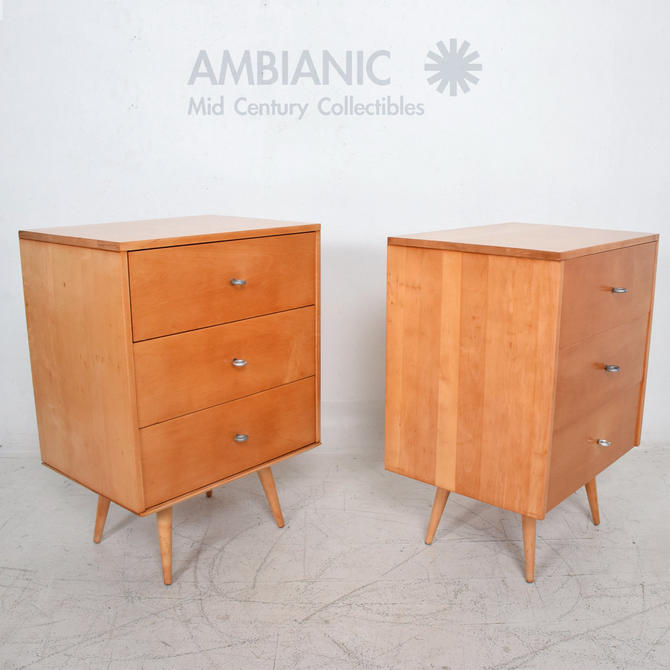 Paul McCobb MAPLE Wood Lacquered Dressers with Silver Pulls 1950s USA - a Pair by AMBIANIC