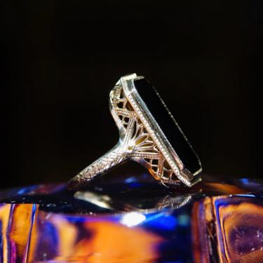 Vintage Art Deco 18K White Gold Filigree & Black Onyx Ring, Glossy Emerald Cut Gemstone Inlaid In Ornate White Gold Setting, Size 6 1/4 US by shopGoodsVintage