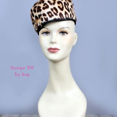 40's - 50's Leopard Print Vintage Hat - 1940's Swing Era Pill Box Ladies Hat. WWII era, MOD Mid Century, Jackie O, Tilt Top Hat by Boutique369