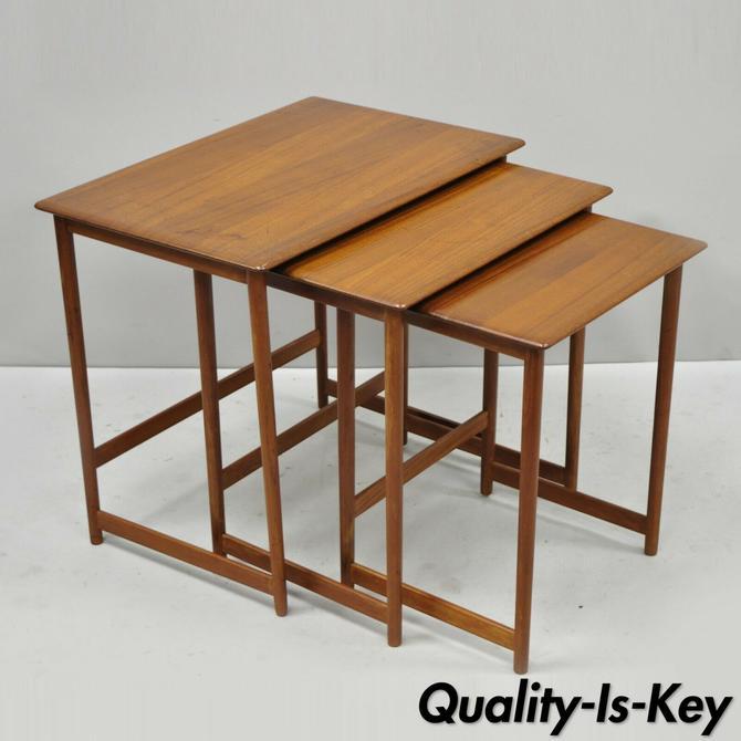 Three Rasmus Solberg Westnofa Mid Century Danish Modern Teak Nesting Side Table