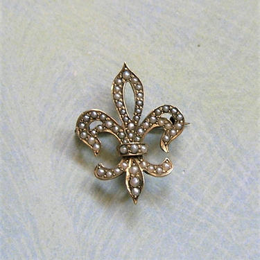 Antique 14K Gold Edwardian Seed Pearl Watch Pin, Old Fleur De Lis Gold Watch Pin, Antique Seed Pearl Brooch Pin, Fleur de Lis Pin (#3720) by keepsakejewels