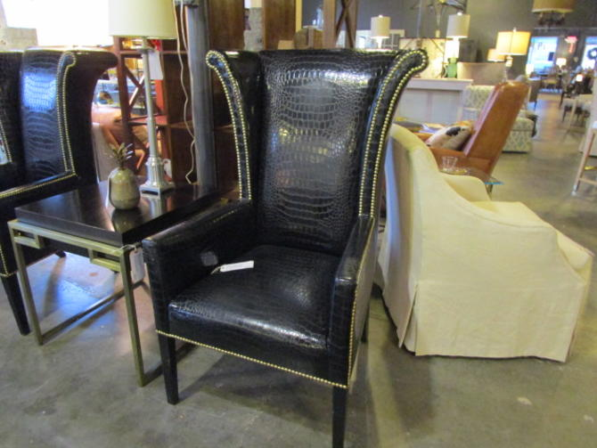 PAIR PRICED SEPARATELY BLACK EMBOSSED CROC WING CHAIRS