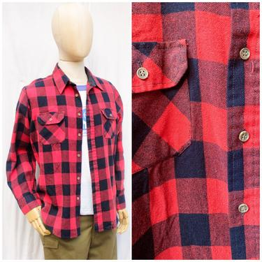 Vtg 70's Sears Red and Black Plaid Flannel Shirt / Mens XL by AmericanDrifter