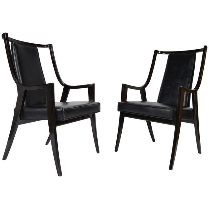 "Harvey Probber ""Classic"" Dining Armchairs Model 1055A in Ebonized Mahogany"
